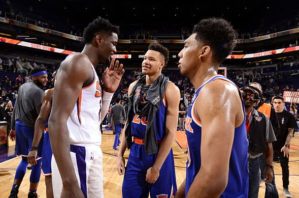8d69c7f73c4 PHOENIX, AZ – MARCH 6: Deandre Ayton #22 of the Phoenix Suns speaks with Kevin  Knox #20 and Allonzo Trier #14 of the New York Knicks on March 6, 2019 at  ...