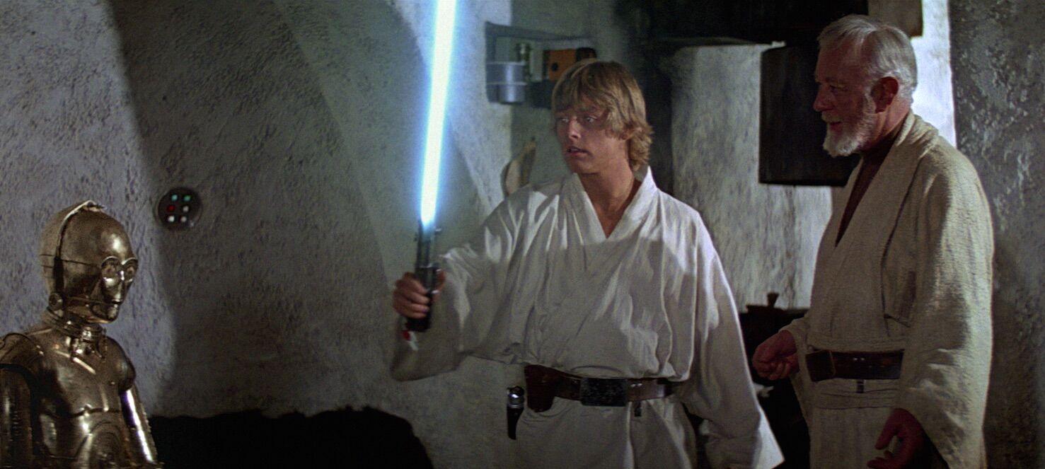 Image result for Luke gets lightsaber