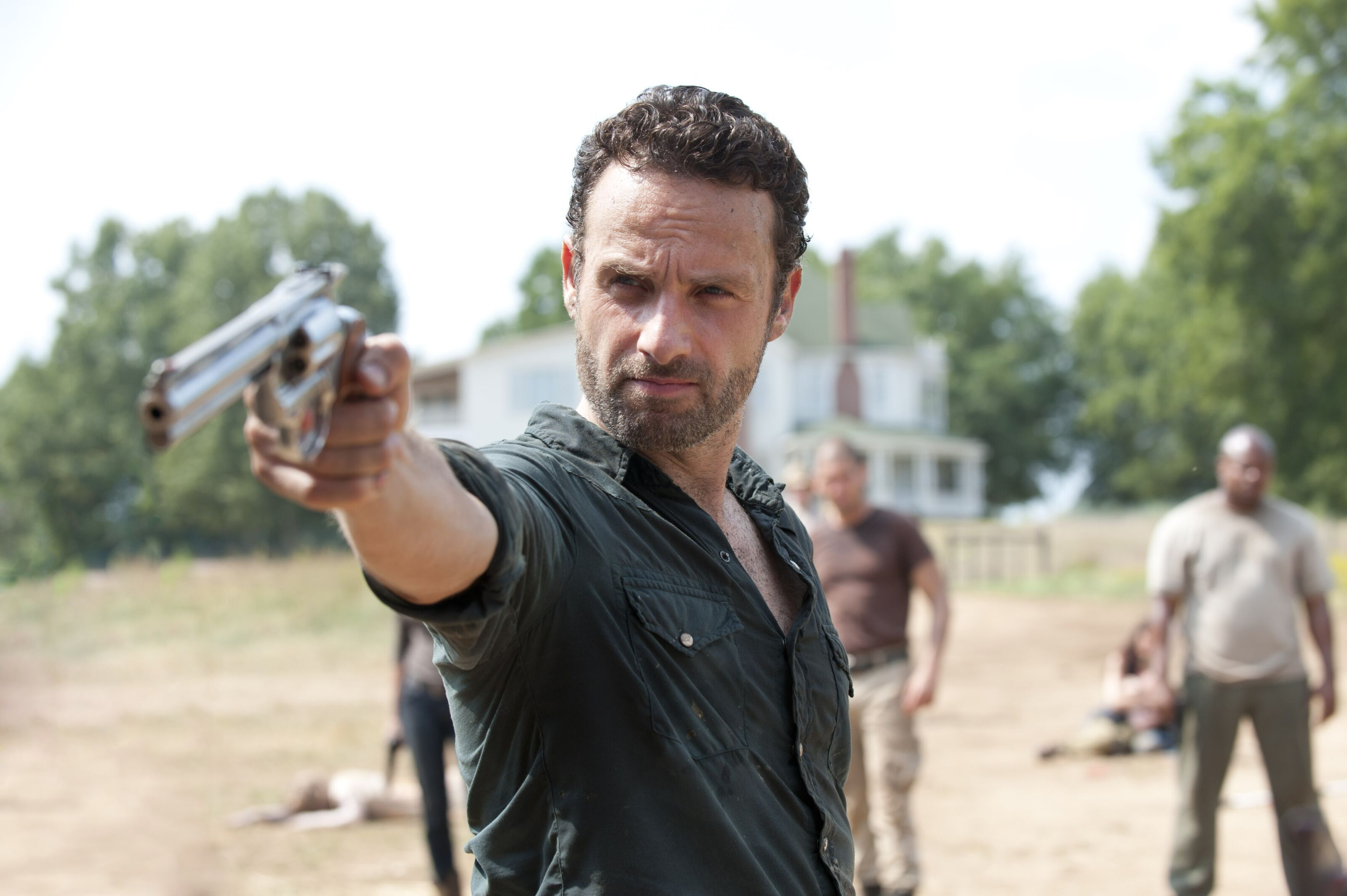 Andrew Lincoln takes aim in preparation for Walking Dead movies