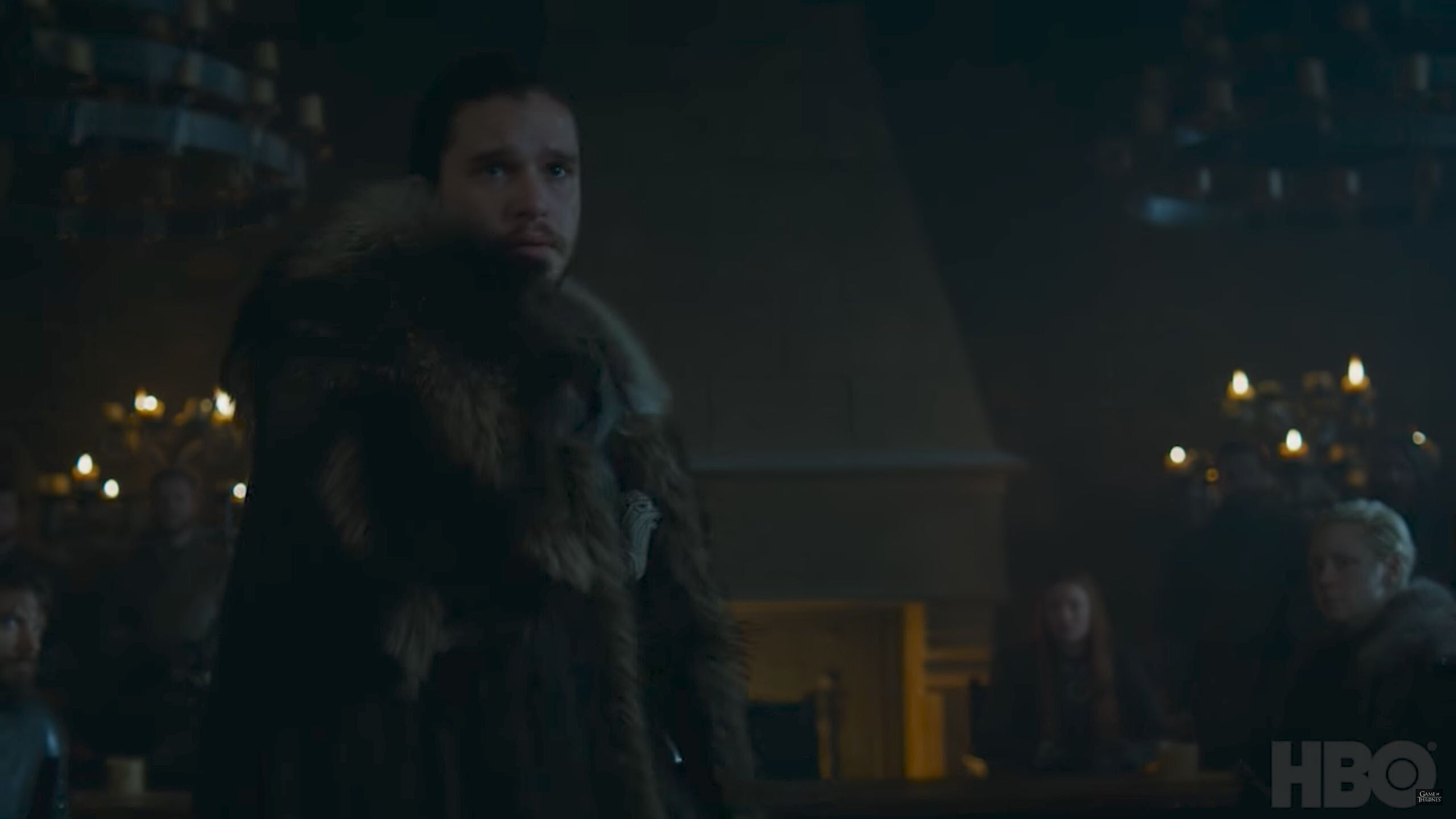 We Get Our First Look At Jon Snow Longclaw His Hip To A Familiar Cry Of King In The North Also Note Brienne On Right Side Frame