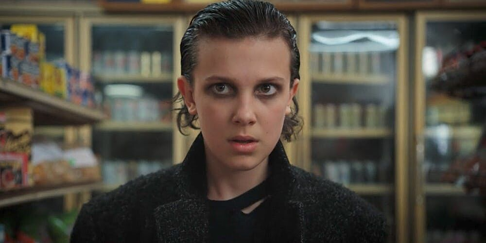 Eleven and Max step out on the set of Stranger Things season 3