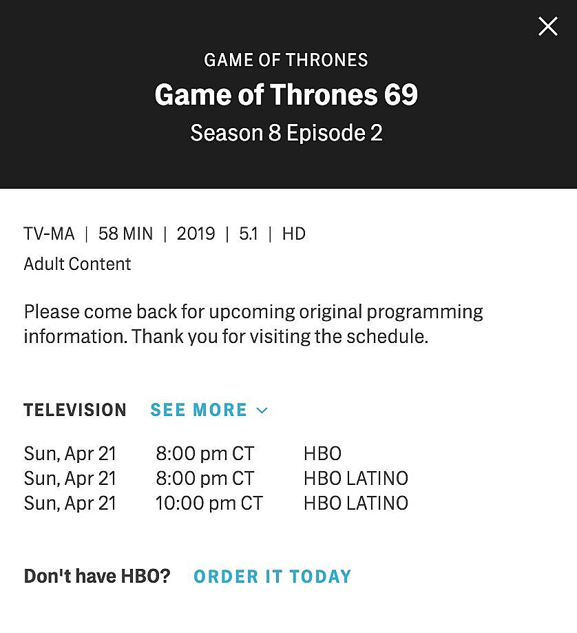 Runtimes for the first two episodes of Game of Thrones season 8