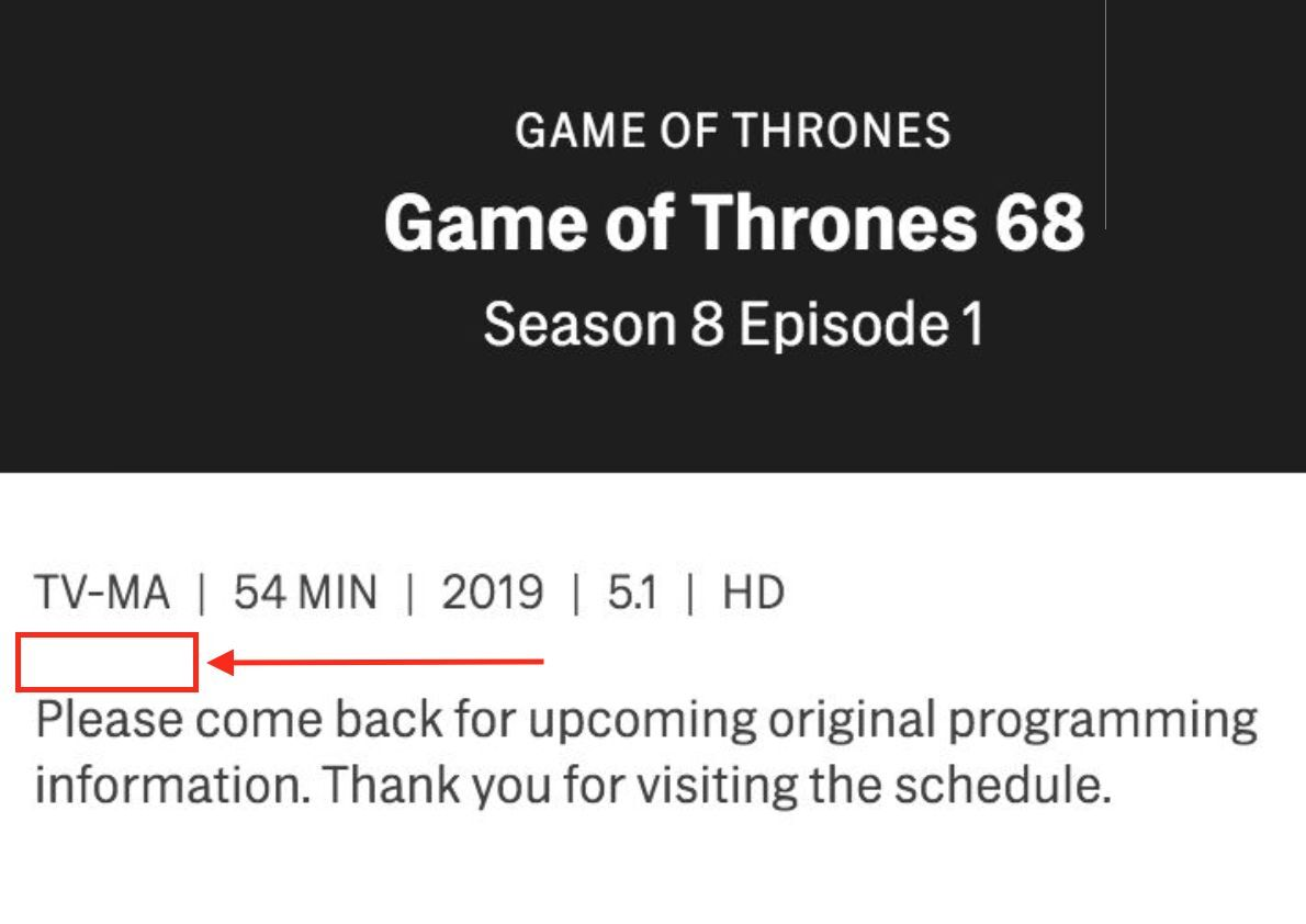 The Season 8 Premiere Doesnt Have An Adult Content Warningbut Every Other Episode Does