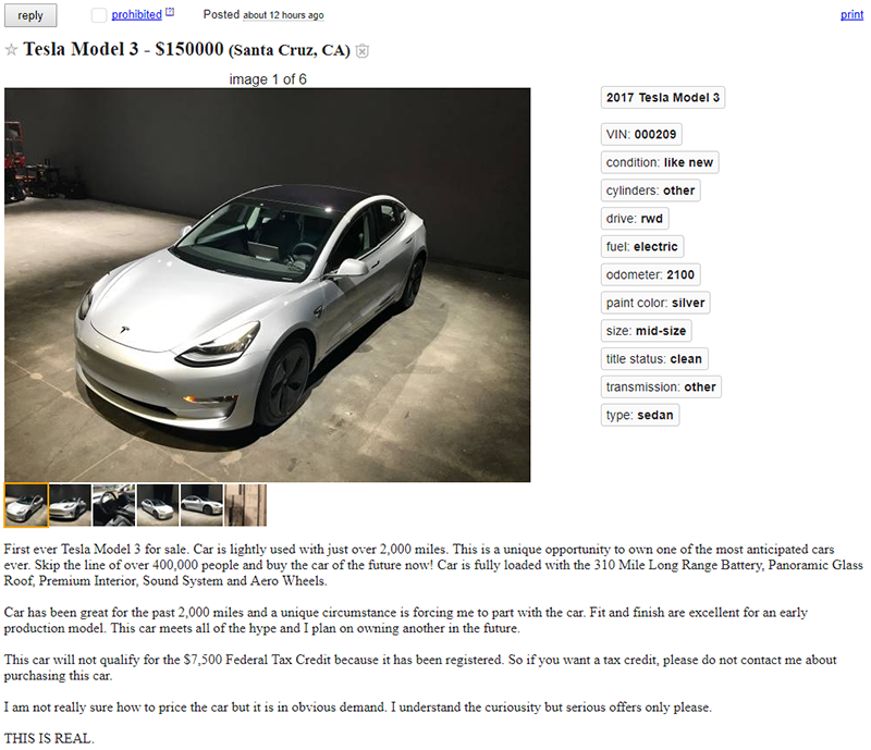 First Used Tesla Model 3 Listed for Sale at $150,000 - The Drive