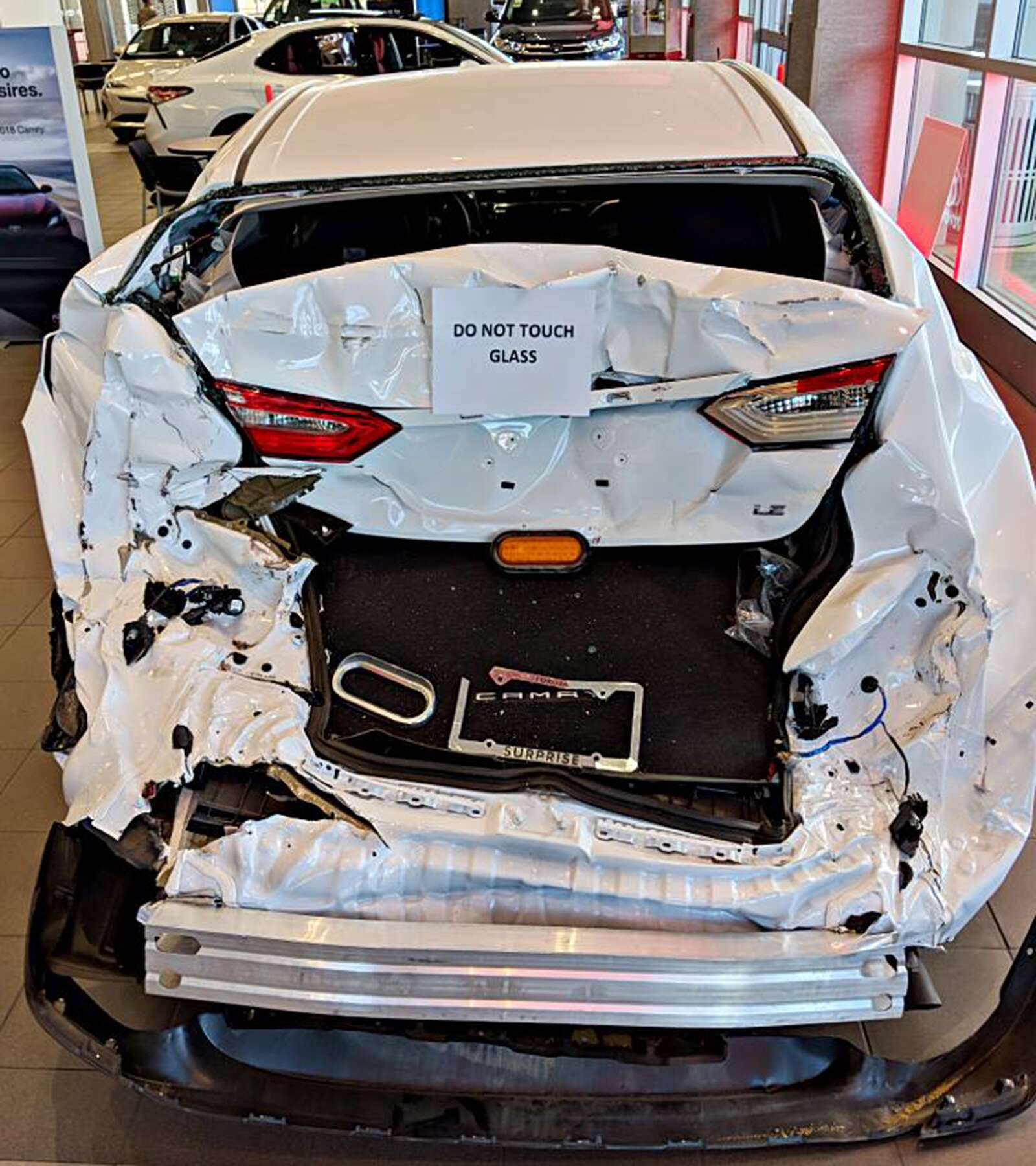 toyota dealership displays 2018 toyota camry that got rear-ended