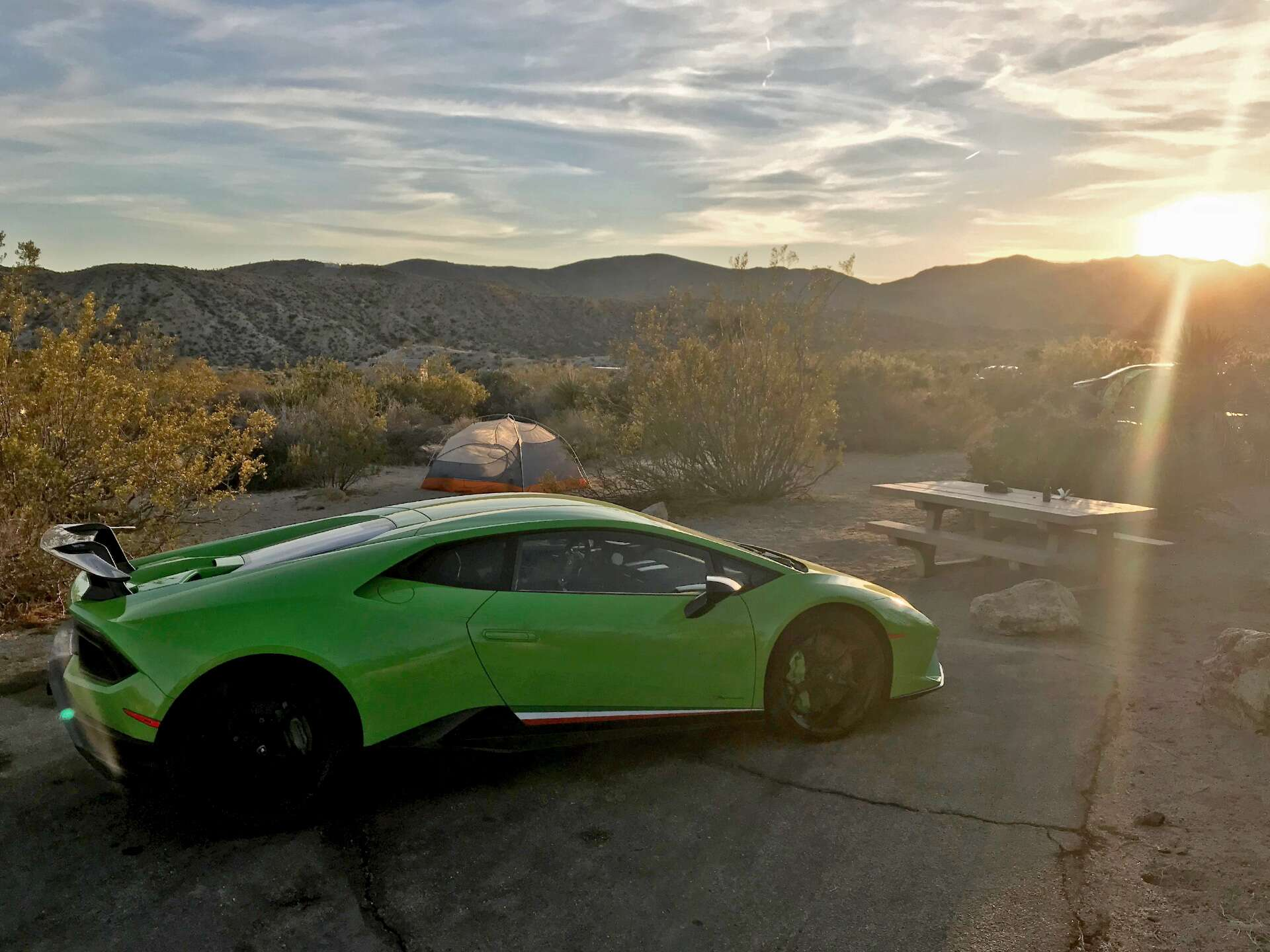Supercar Car Camping In A Lamborghini Huracan Performante Crossing