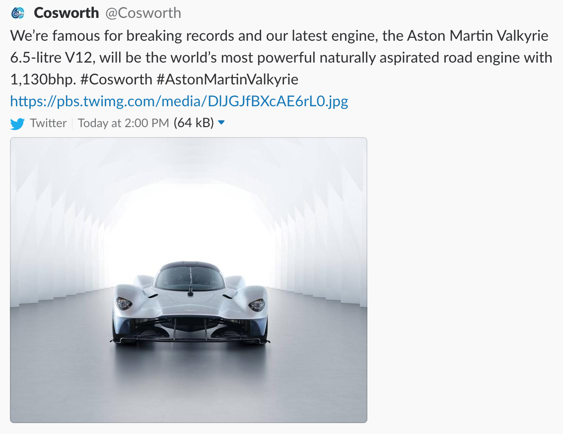 Cosworth Reveals Aston Martin Valkyrie V 12 Will Be Earth S Most