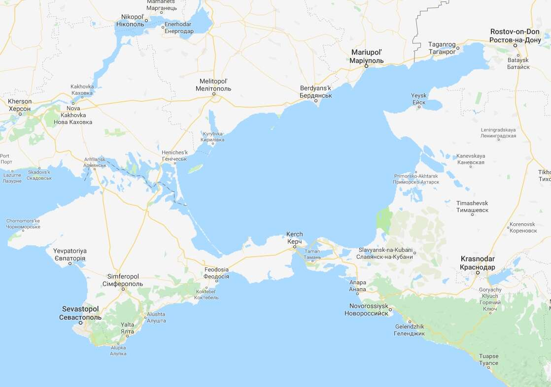 Ukraine And Russia Map.Tensions Between Ukraine And Russia Boil Over In Sea Of Azov As