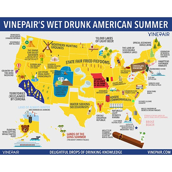 Map the united states of summer drinking food wine sciox Image collections