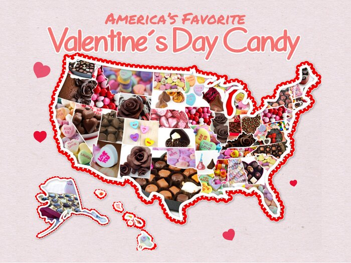 map of usa candy on valentines day - Valentines Dy