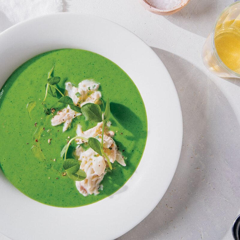 Chilled English Pea Soup with Crab and Meyer Lemon