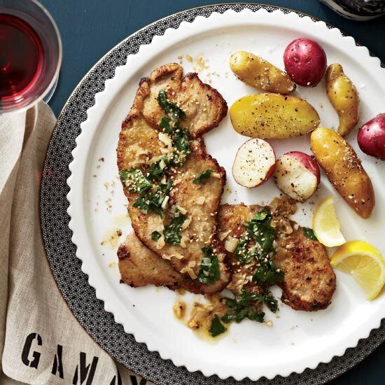 Italian food food wine veal scaloppine with wilted parsley lemon and sesame forumfinder Images