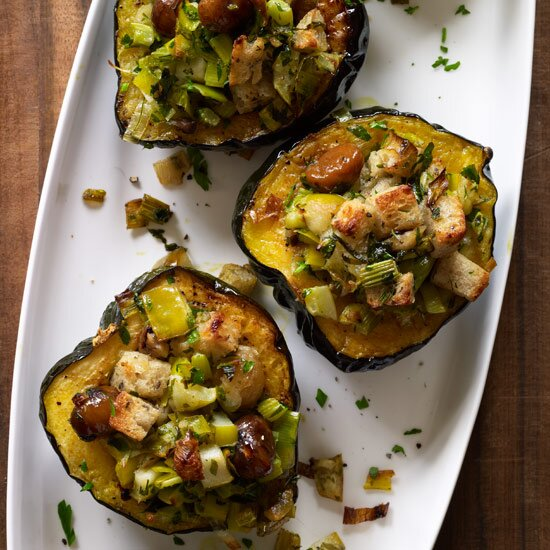 Vegetarian thanksgiving food wine baked acorn squash with chestnuts apples and leeks forumfinder Choice Image