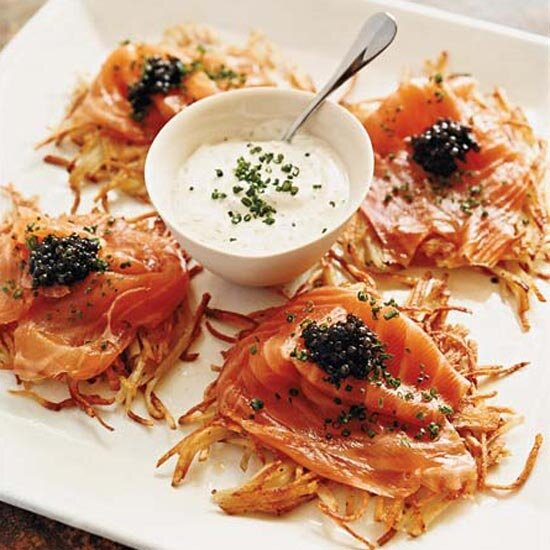 100 best recipes ever starters food wine potato pancakes with smoked salmon caviar and dill cream forumfinder Choice Image
