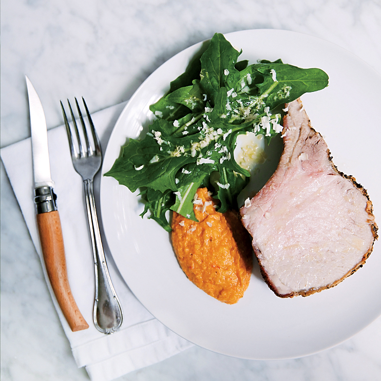 Roast Pork with Acorn Squash Romesco Puree