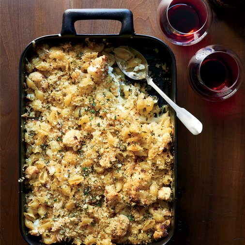 Baked pasta dishes food wine crusty baked shells and cauliflower forumfinder Images