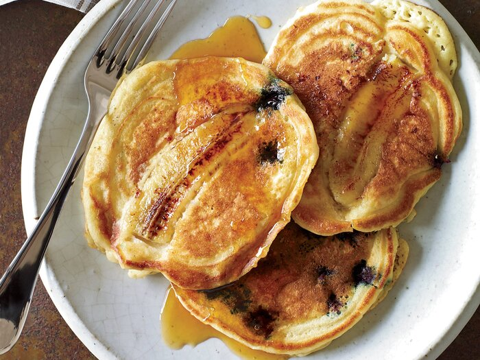 Blueberry banana pancakes recipe tyler florence food wine pblueberry banana pancakesp forumfinder Image collections