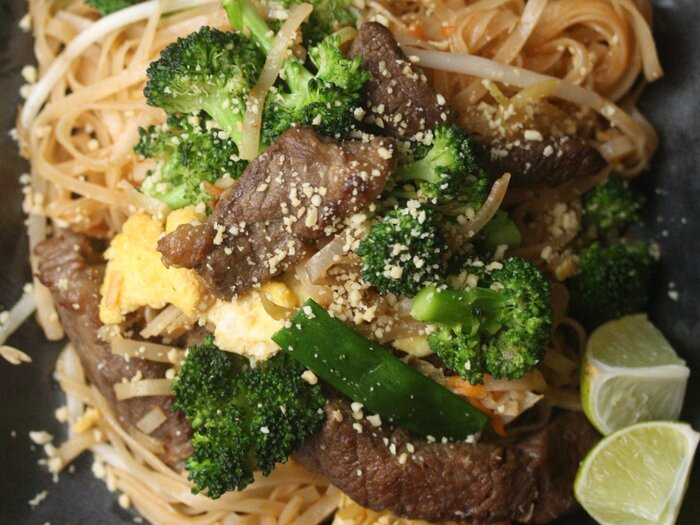 Beef with broccoli pad thai recipe phoebe lapine food wine original 201310 r beef and broccoli pad thai forumfinder Image collections