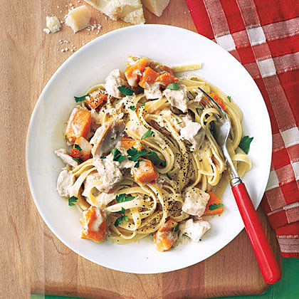 Fettuccine with Chicken and Squash