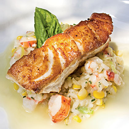 roasted grouper & seafood risotto & champagne-citrus beurre blanc