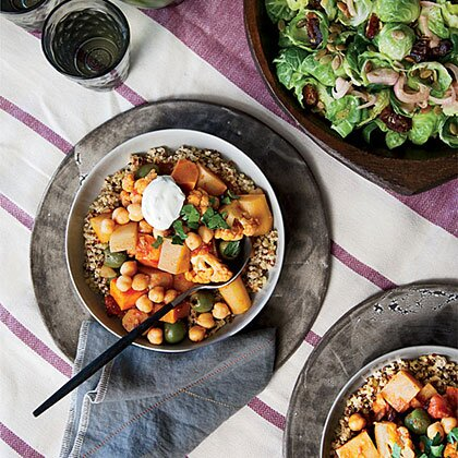Vegetarian recipes from food wine myrecipes root vegetable and cauliflower tagine with parsley yogurt forumfinder Image collections