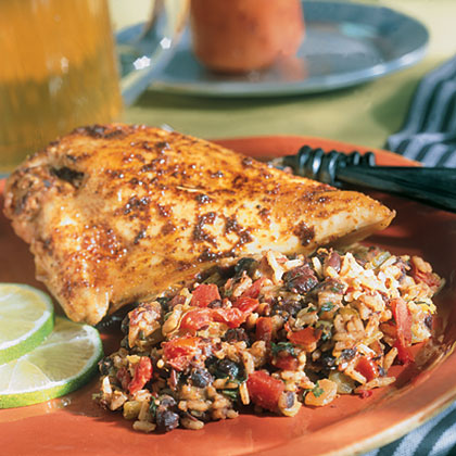Spanish Style spicy lime chicken with spanish-style rice recipe | myrecipes