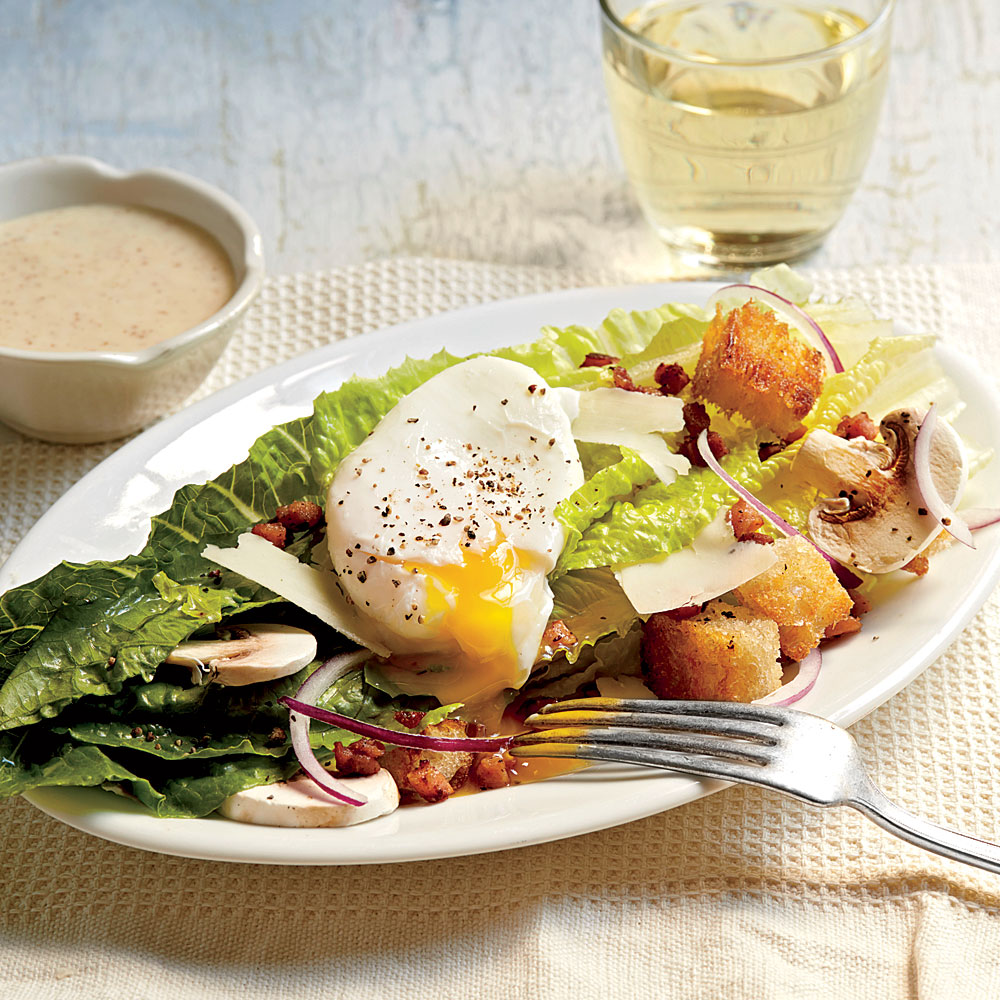 Ham Eggs romaine salad with country ham and eggs recipe myrecipes
