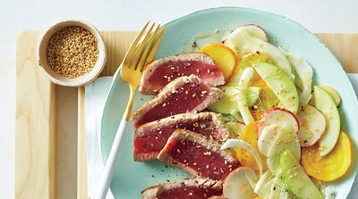 Quick easy recipes myrecipes seared tuna with shaved vegetable salad image forumfinder Gallery