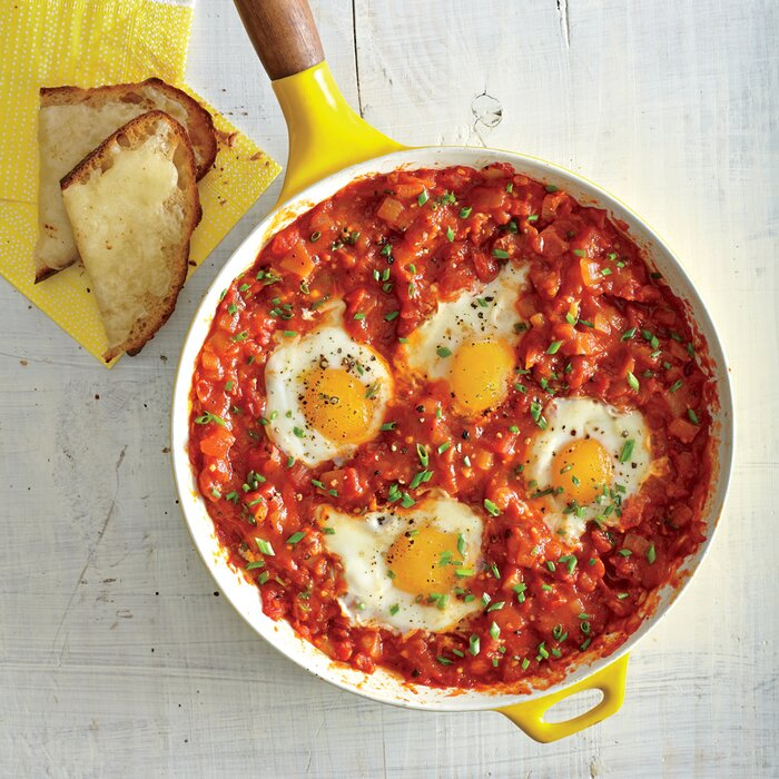 Eggs poached in tomato sauce garlic cheese toasts recipe myrecipes eggs poached in tomato sauce with garlic cheese toasts forumfinder Images