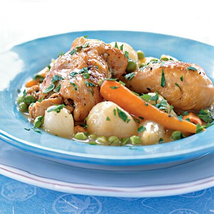 Braised chicken with baby vegetables and peas recipe myrecipes braised chicken with baby vegetables and peas forumfinder Images