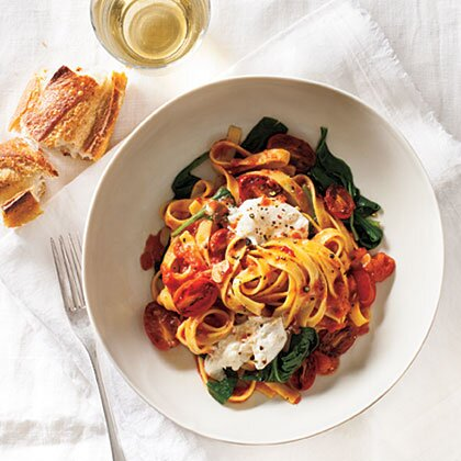 Fettuccine with seared tomatoes spinach burrata recipe myrecipes fettuccine with seared tomatoes spinach and burrata sisterspd