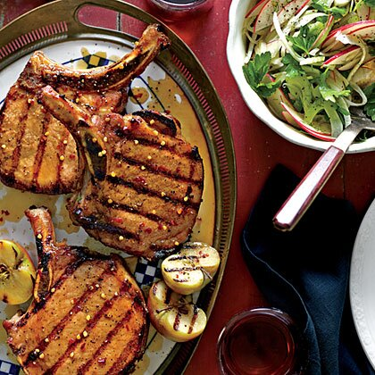 Grilled Pork Chops With Apple Bourbon Glaze