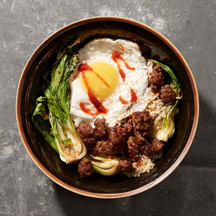 Minced beef with bok choy and fried egg recipe myrecipes minced beef with bok choy and fried egg forumfinder Image collections