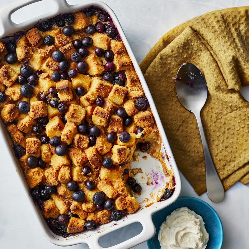 Blueberry Bread Pudding With Lemon Hard Sauce