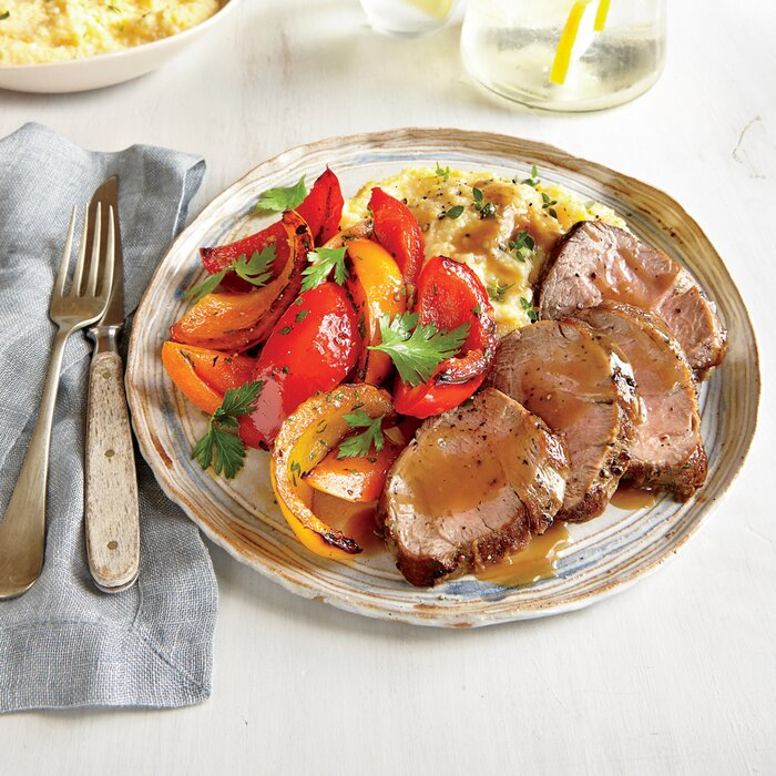 Pan roasted pork tenderloin and peppers recipe myrecipes pan roasted pork tenderloin and peppers forumfinder Image collections