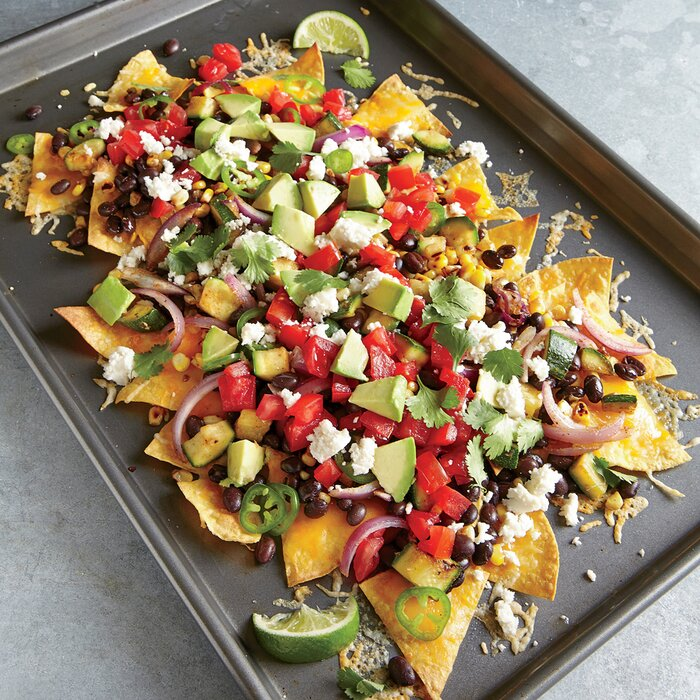Two cheese veggie nachos recipe myrecipes two cheese veggie nachos forumfinder Choice Image