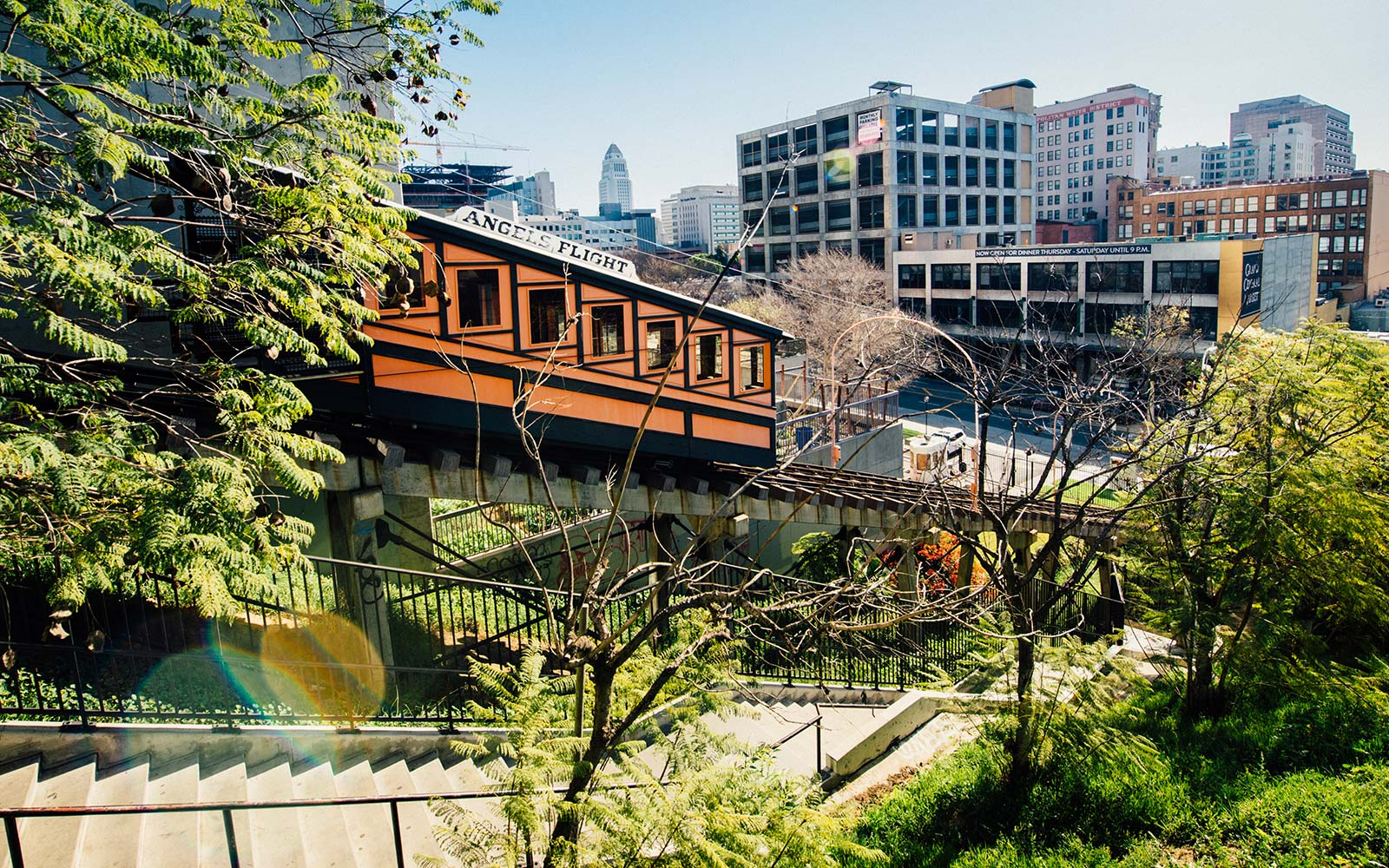 Angels Flight is a Funicular Railway in Bunker hill district connecting Hill Street and California Plaza in Los Angeles, California.
