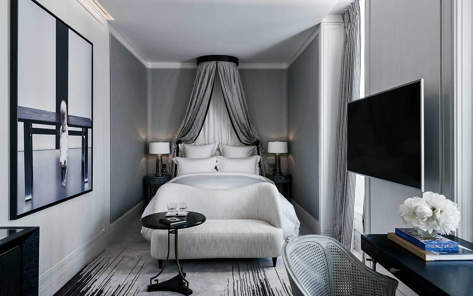 A guest room at the Hotel de Crillon in Paris, France