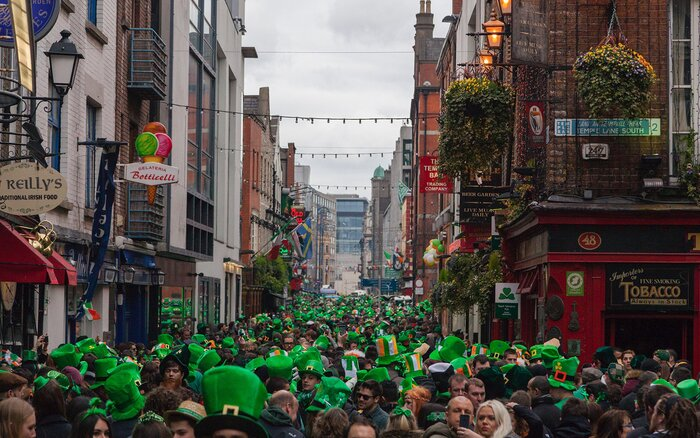 Image Of The Crowds Gathered In Temple Bar After St Patrick S Day Parade Dublin