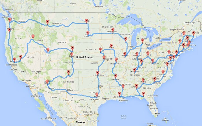 This Man Planned The Most Epic And Efficient Road Trip Of All - Us map road trip