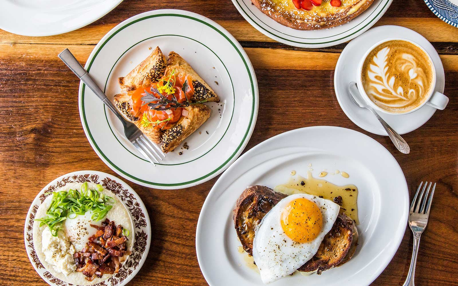 Cranberry Walnut and Raclette Grilled Cheese with Duck Egg, lox danish, quinoa with bacon and egg, Milktooth, Indianapolis, Indiana