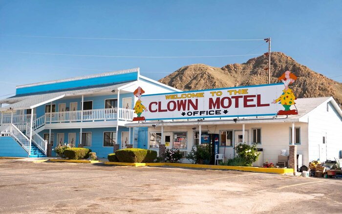 The Front Entrance Of Clown Motel In Tonopah Nevada