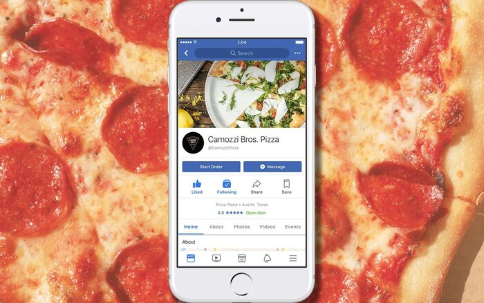 "Facebook new online ""Order Food"" Feature"