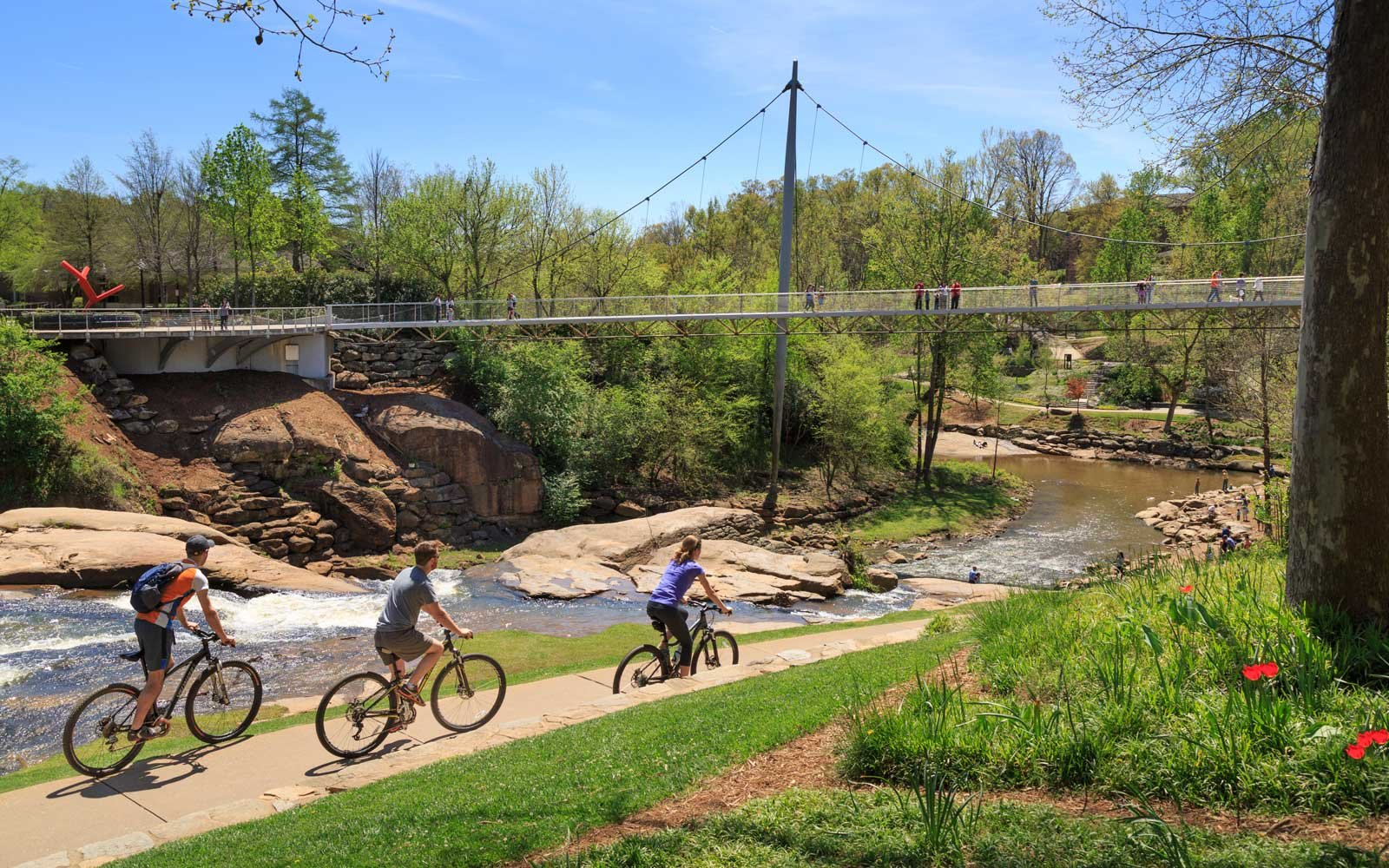 Liberty Bridge with Bikers on Path, Greenville, South Carolina