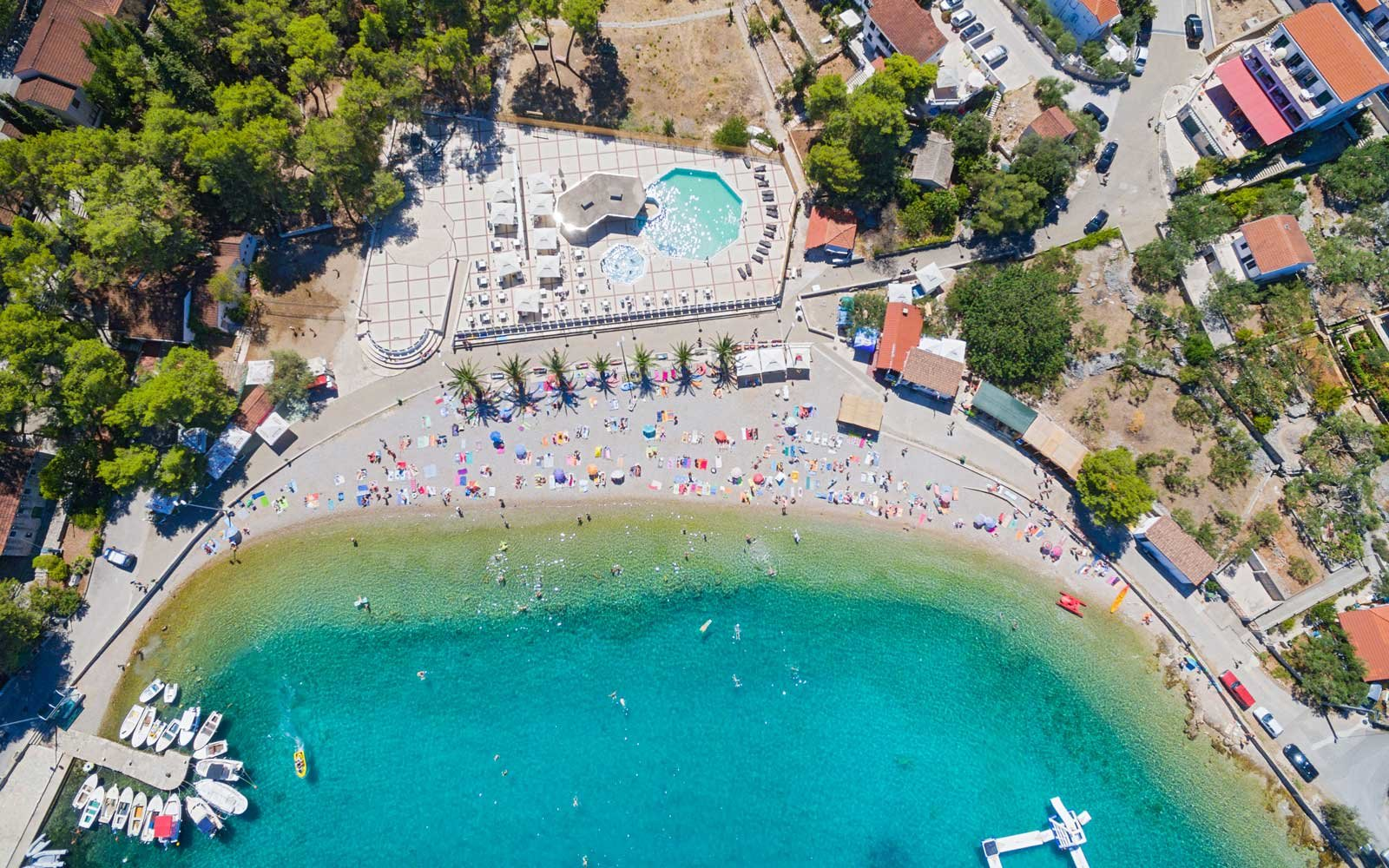 Aerial view of housing estate and beach at Necujam bay at Solta, Croatia