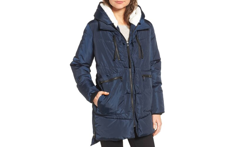 Nordstrom Steve Madden Hooded Puffer Jacket with Faux Fur Shearling Trim