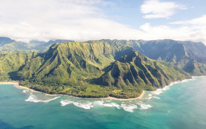 Napali Coast Of Kauai Hawaii Seen From Above