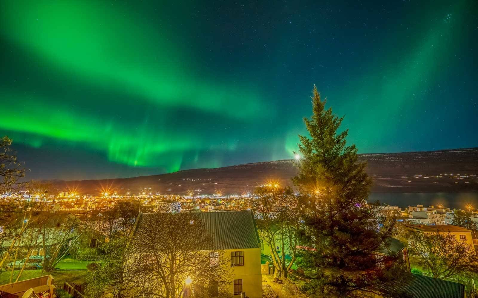 Northern lights over Akureyri, Iceland