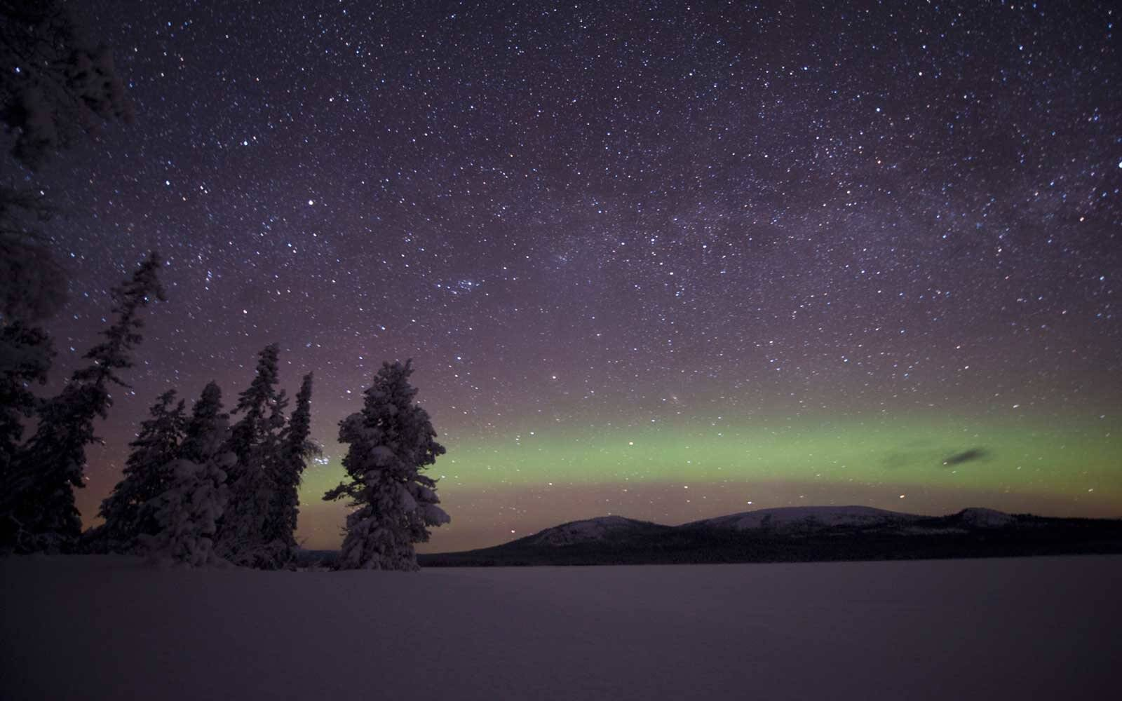 Sweden, Lappland, Jokkmokk, Aurora Borealis on night sky