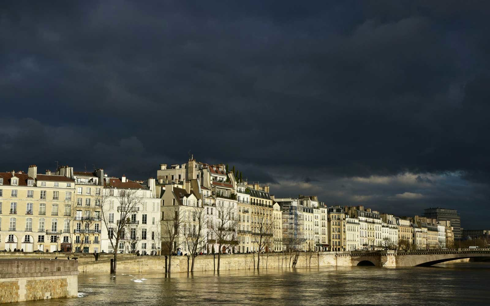 Flooded Seine river and banks in Paris